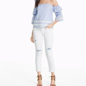 WHBM | White Chambray Distressed Jeans